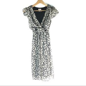 AS U WISH BLACK & IVORY FLORAL EMPIRE WAIST DRESS